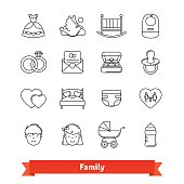 Family thin line art icons set