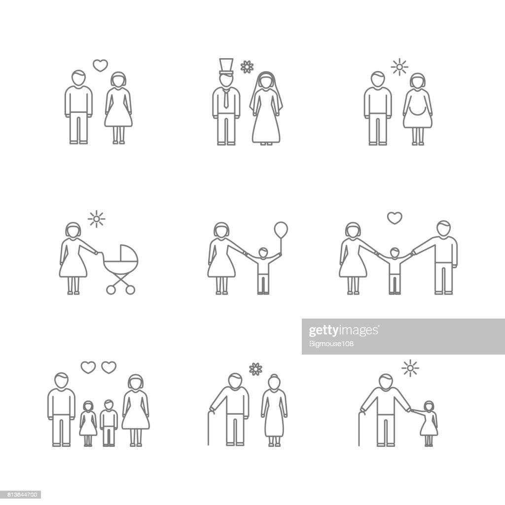 Family Thin Line Icons Set. Vector