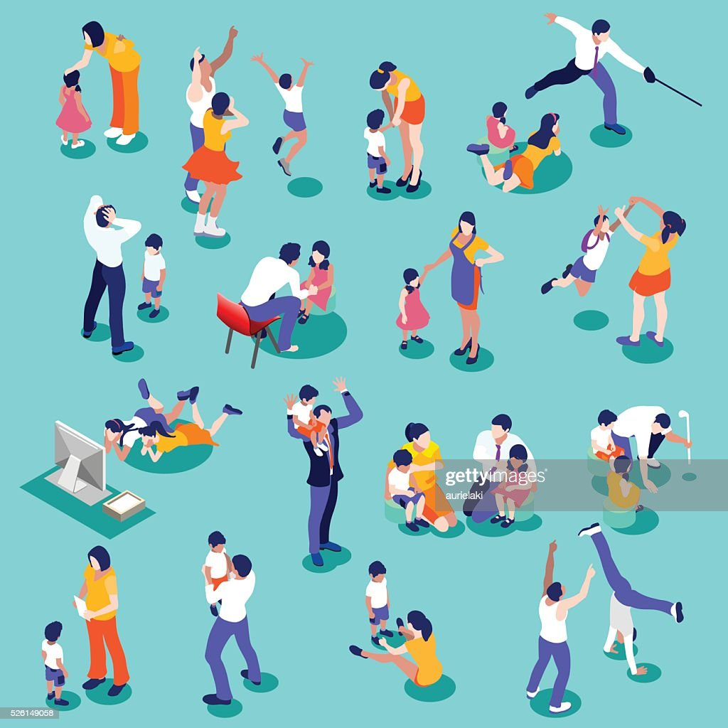Family Time Set Isometric People
