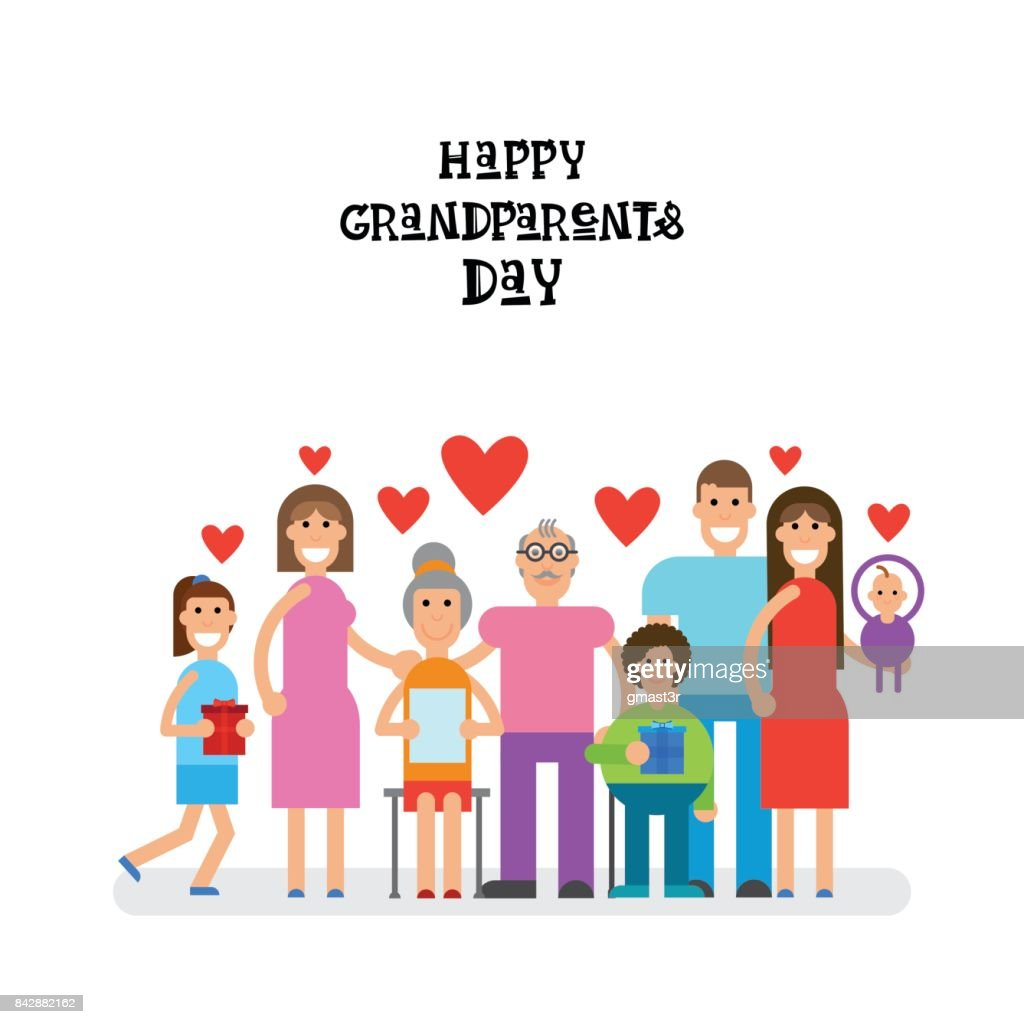 Family Together Happy Grandparents Day Greeting Card Banner Vector