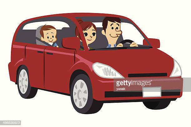 family traveling in car - family cycling stock illustrations, clip art, cartoons, & icons