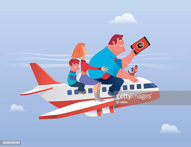 family traveling - aeroplane stock illustrations