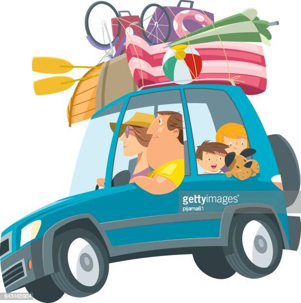 family traveling with car - holiday travel stock illustrations, clip art, cartoons, & icons