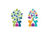family tree logo, parenting trees symbol icon vector design
