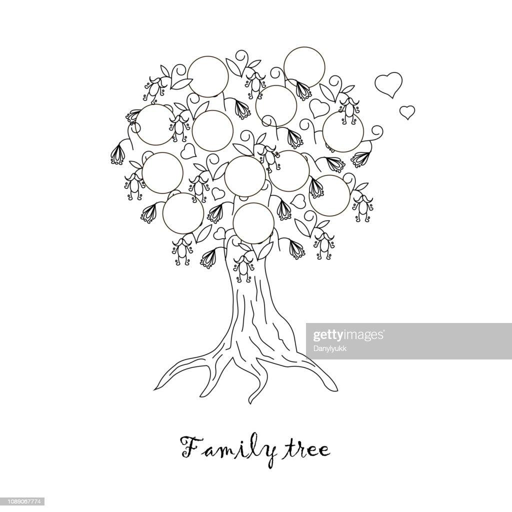 Family tree monochrome sketch. Thin black line graphic design element on white design element