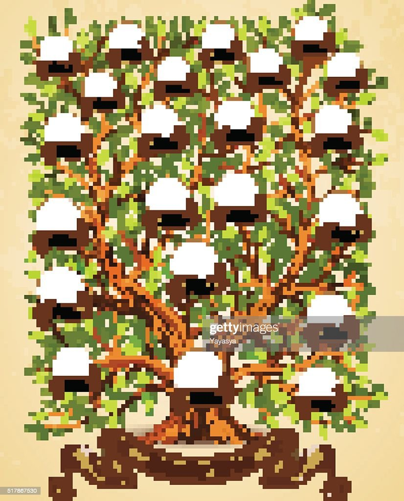 Family Tree template vintage vector illustration