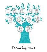 Family tree thin line style vector