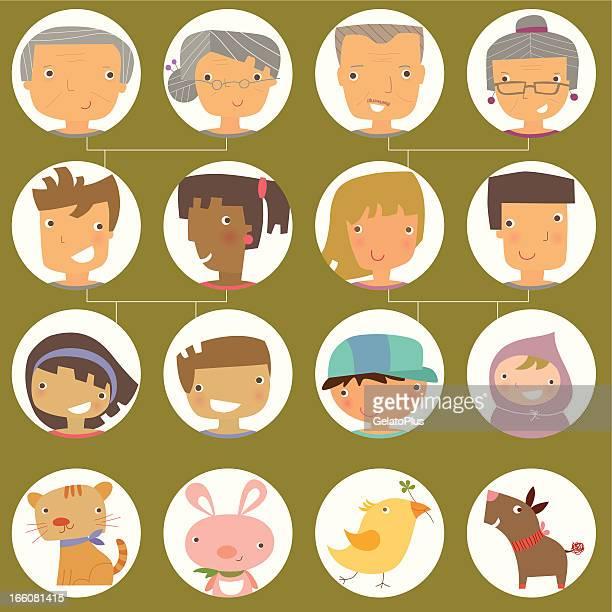 ilustraciones, imágenes clip art, dibujos animados e iconos de stock de árbol genealógico - family tree