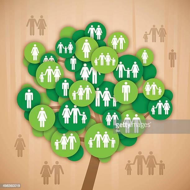 ilustrações de stock, clip art, desenhos animados e ícones de árvore genealógica - casais de lesbicas