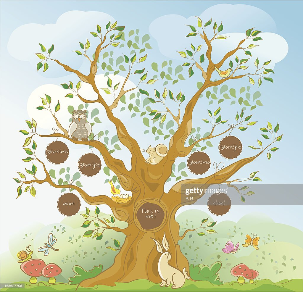 Family Tree with Face Holes for Photographs