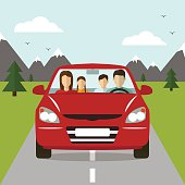 Family trip by car.  Vector