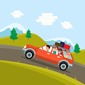 Family trip. Father, mother and children traveling by car on the background of a beautiful mountain landscape. Vector illustration of a flat design