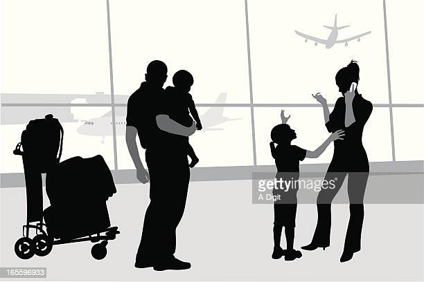 family trip vector silhouette - airport terminal stock illustrations, clip art, cartoons, & icons