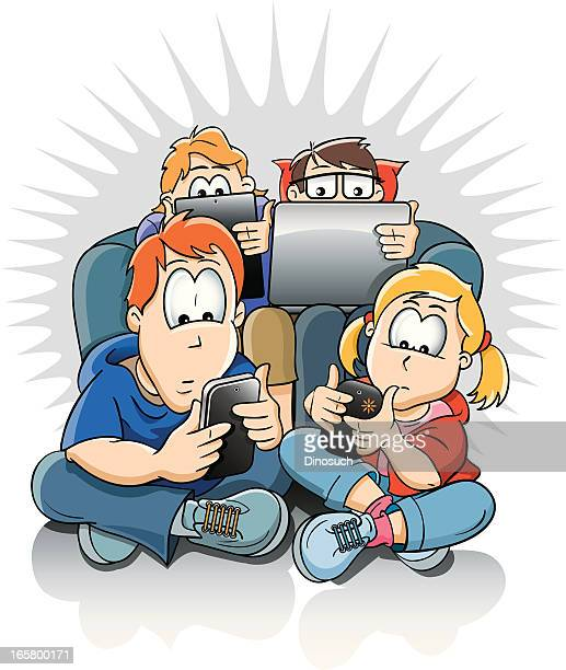 Family using their phones, computers and digital devices