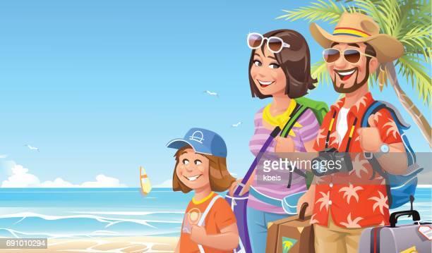 family vacation at the beach - hawaiian shirt stock illustrations