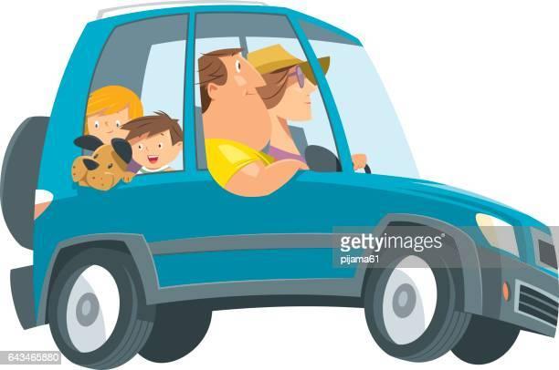 Familia de vacaciones viaje en automóvil