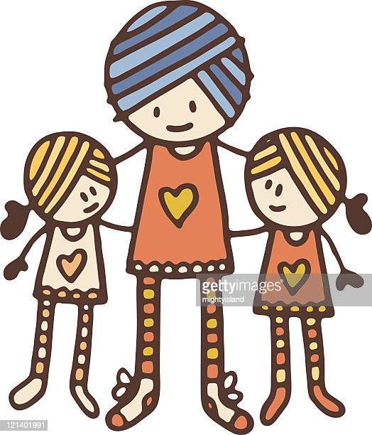 family - kids hugging mom cartoon stock illustrations