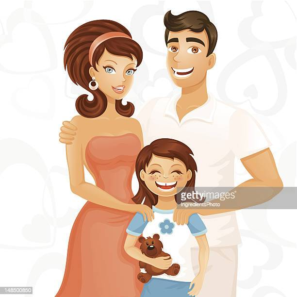 ????? family - kids hugging mom cartoon stock illustrations