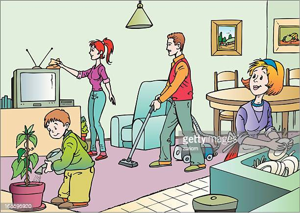 family - washing dishes stock illustrations, clip art, cartoons, & icons