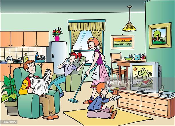 family - reading england stock illustrations