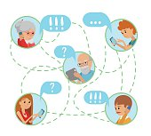 Family vector illustration flat style people online social media communications.