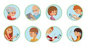 Family vector illustration people faces online social media communications.