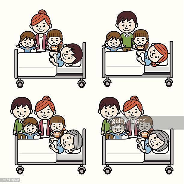 ilustraciones, imágenes clip art, dibujos animados e iconos de stock de familia visita de un paciente en el hospital. - asistente de enfermera