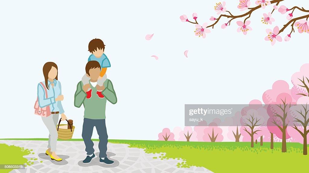 Family Walking among full bloom cherry trees -Piggyback -EPS10