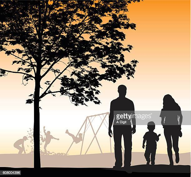 Family Walking At Dusk Vector Silhouette