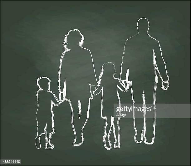 Família andar de mãos dadas