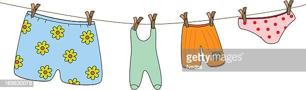 family washing - underwear stock illustrations, clip art, cartoons, & icons