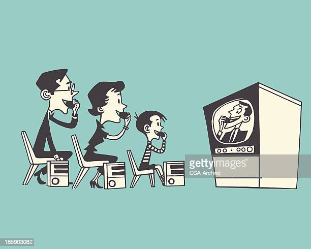 family watching tv - television industry stock illustrations
