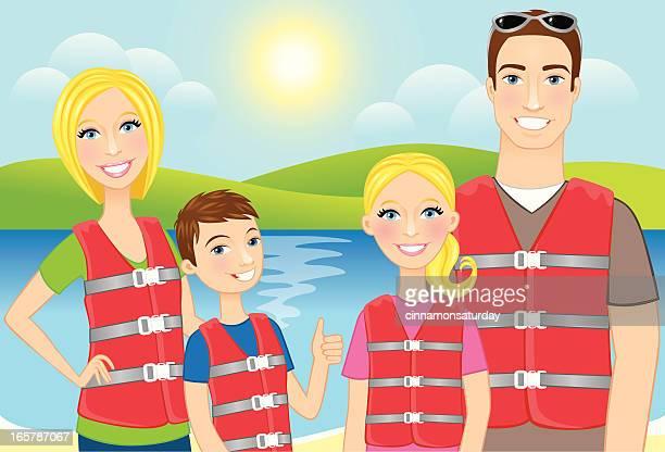 Familie mit Schwimmwesten
