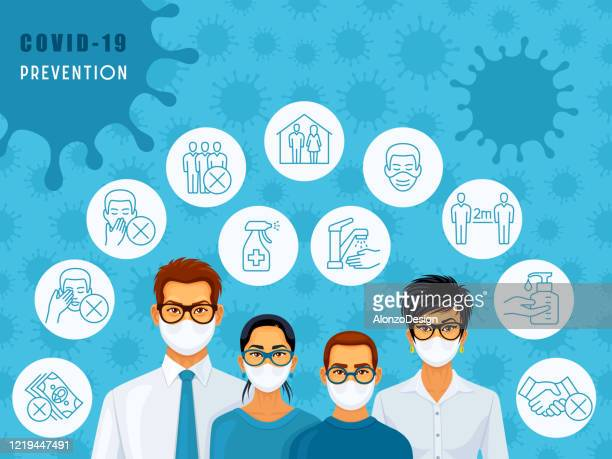 family wearing medical face masks. covid-19 prevention. - safe stock illustrations