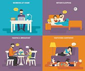 Family with children concept flat icons set of people using