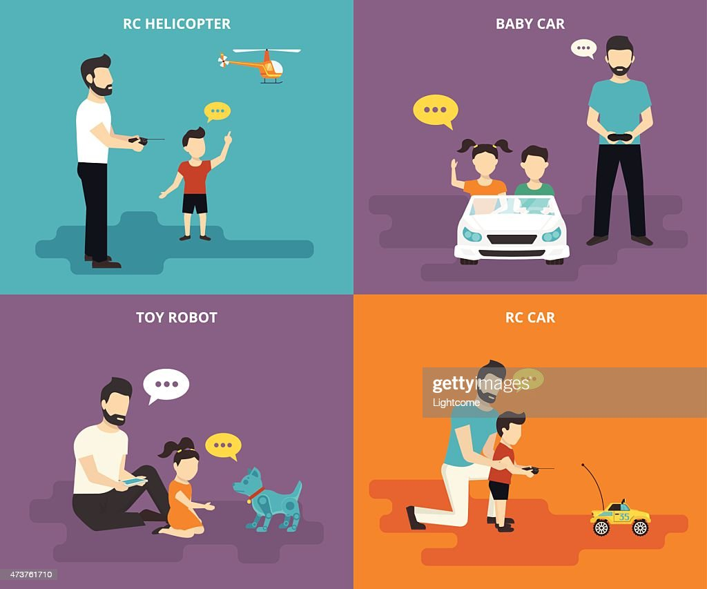 Family with children concept with flat icon set
