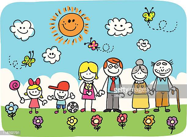 family with grand father mother son daughter children doodle cartoon