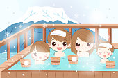 family with hot spring