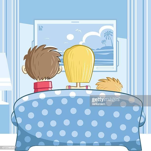 ilustraciones, imágenes clip art, dibujos animados e iconos de stock de familia con un hijo - familia viendo tv
