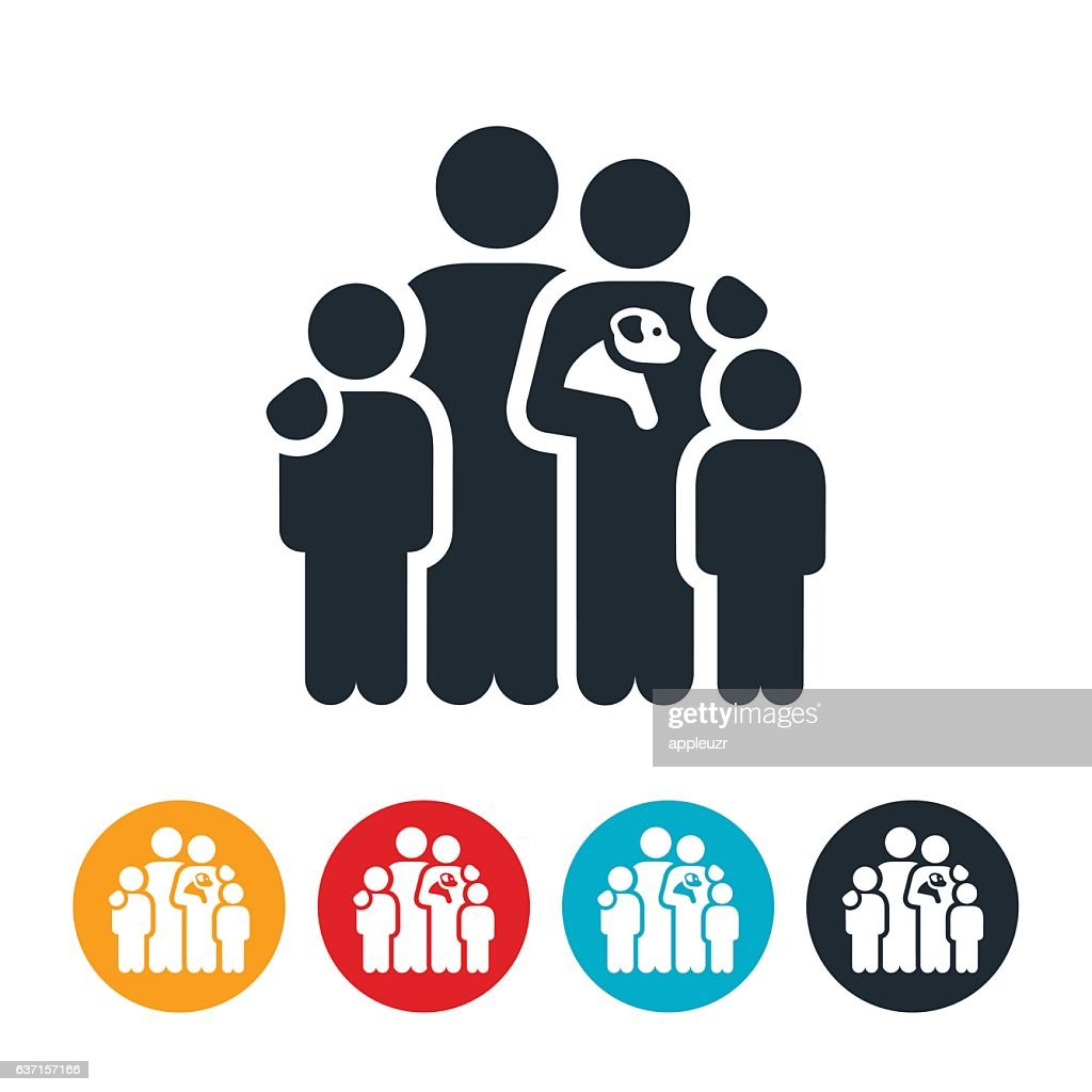 Family With Pet Icon : stock illustration