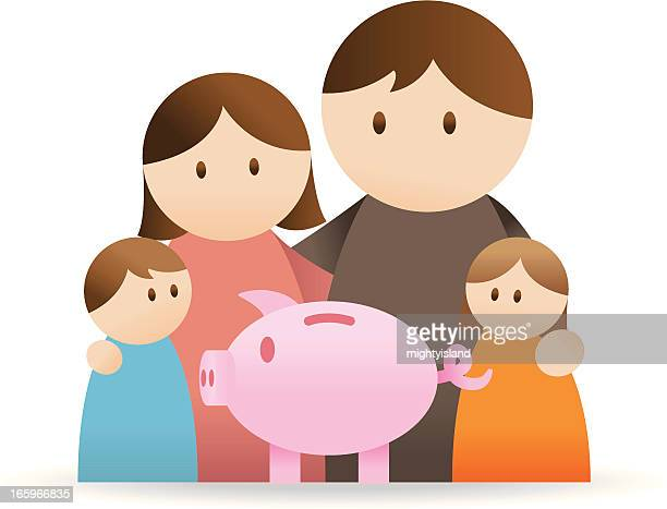 family with piggy bank - cash flow stock illustrations, clip art, cartoons, & icons