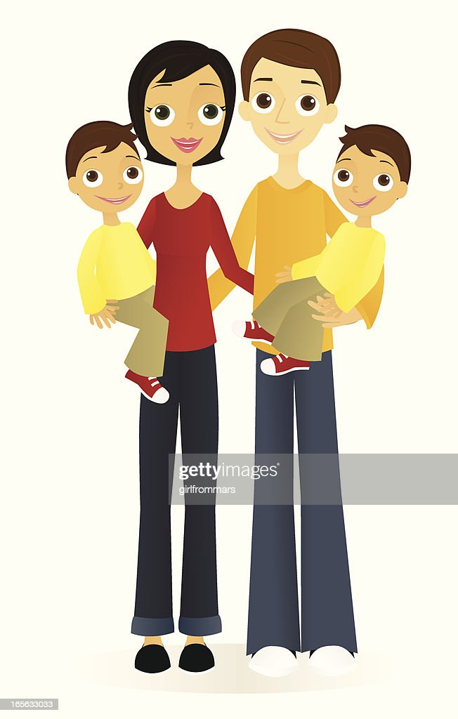 Family with Twin Boys : stock vector