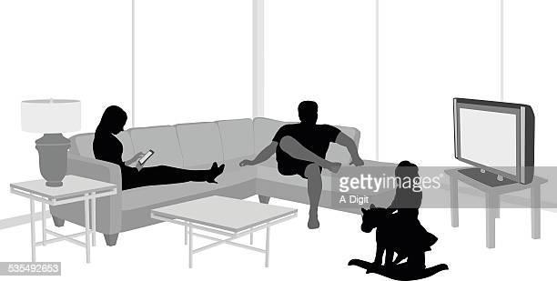 ilustraciones, imágenes clip art, dibujos animados e iconos de stock de familyliving - familia viendo tv