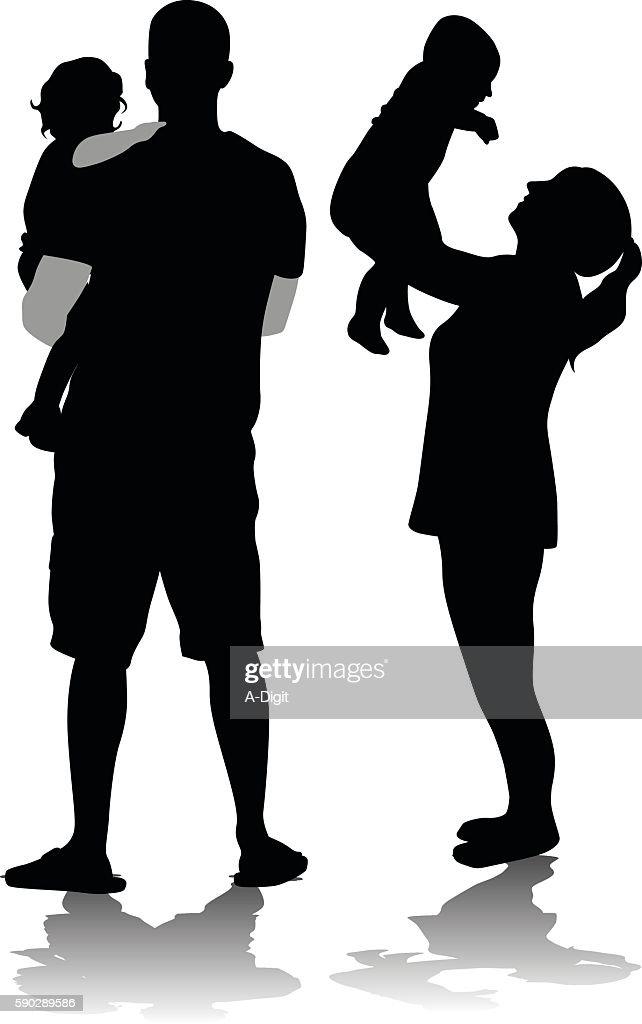 Family's New Members : Stock Illustration