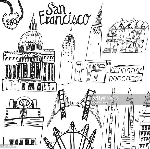 Famous buildings and bridges in San Francisco, California in USA