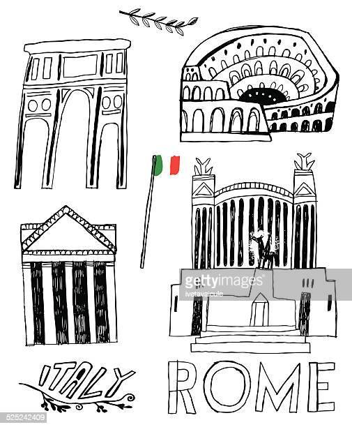 famous buildings and monuments in rome, italy - altare della patria stock illustrations