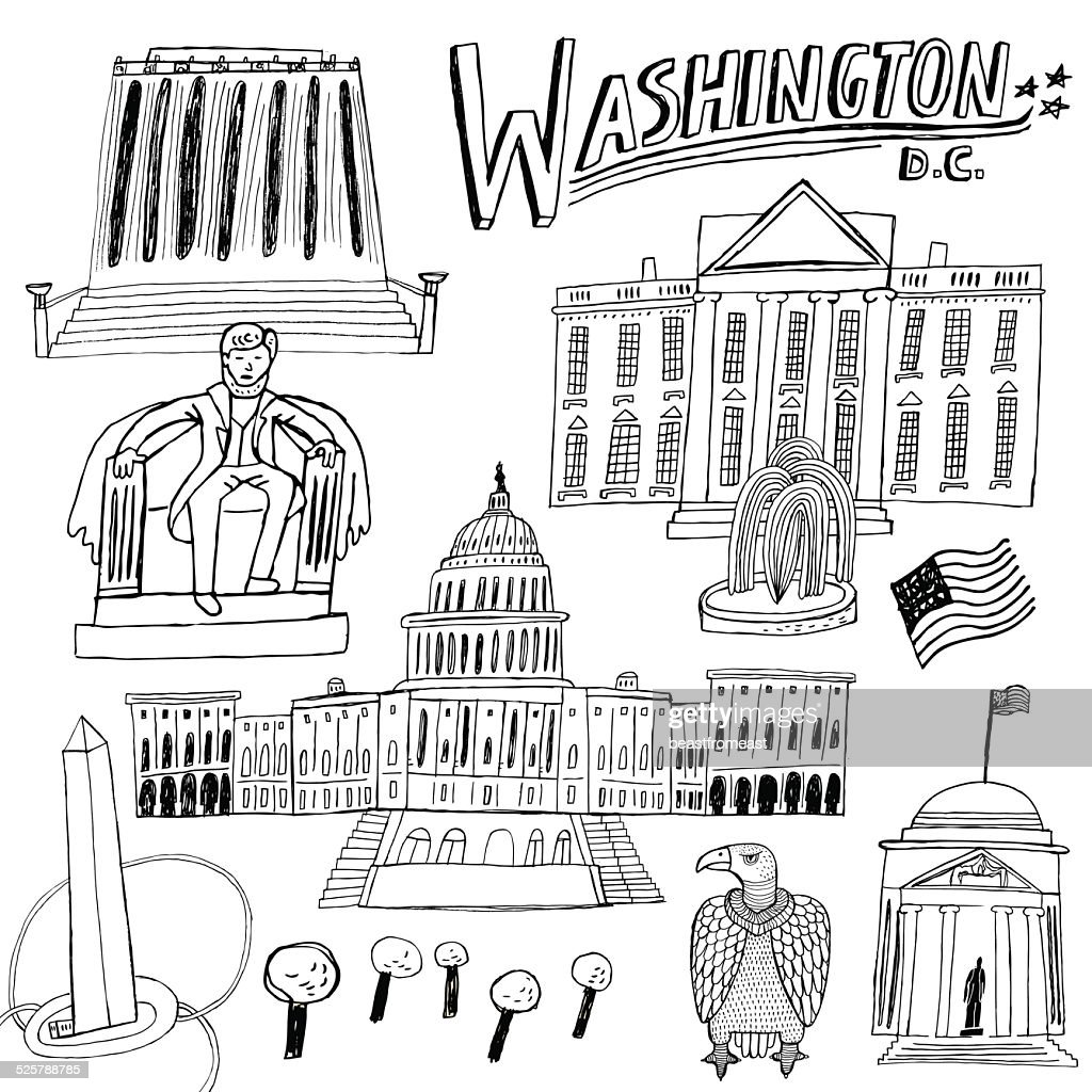 Famous buildings and monuments in Washington DC, USA