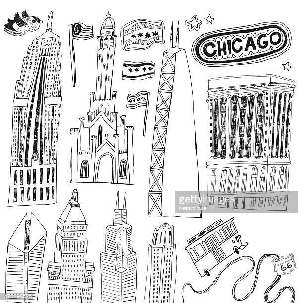 illustrazioni stock, clip art, cartoni animati e icone di tendenza di famosi edifici di chicago, illinois, stati uniti - grattacielo