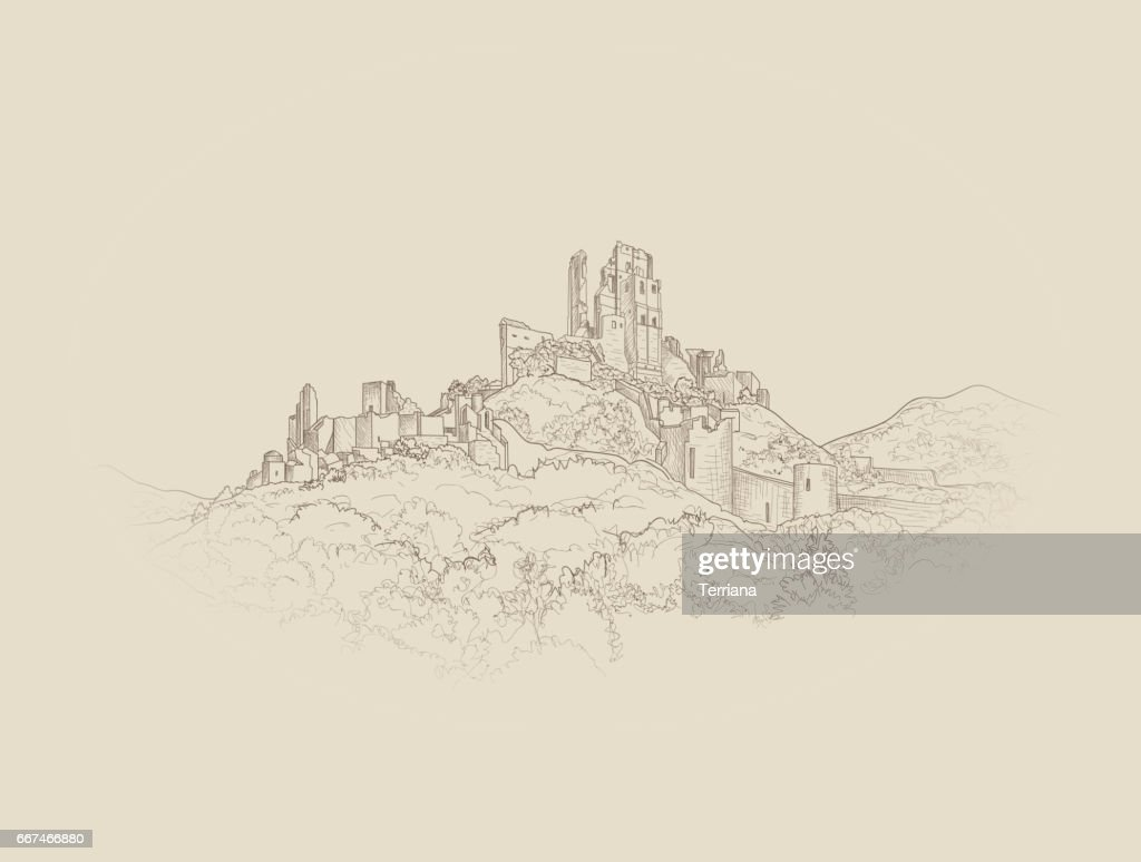 Famous Castle Landscape. Ancient Architectural Ruins Background.