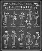 Famous Cocktails Illustrations Blackboard Menu